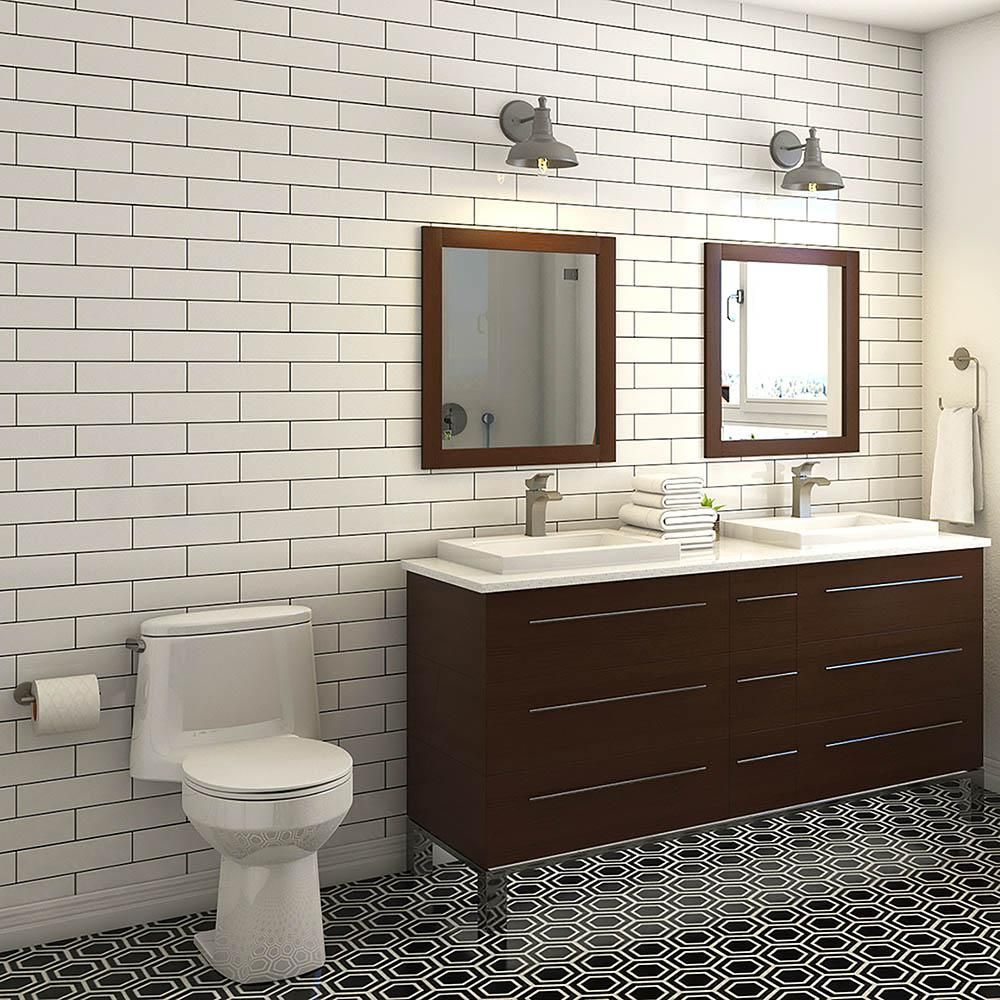 Merola Tile Metro Soho Subway Matte White Porcelain Floor And Wall 6 In X Sample S1fmtshmw The Home Depot Flooring Bathrooms Remodel