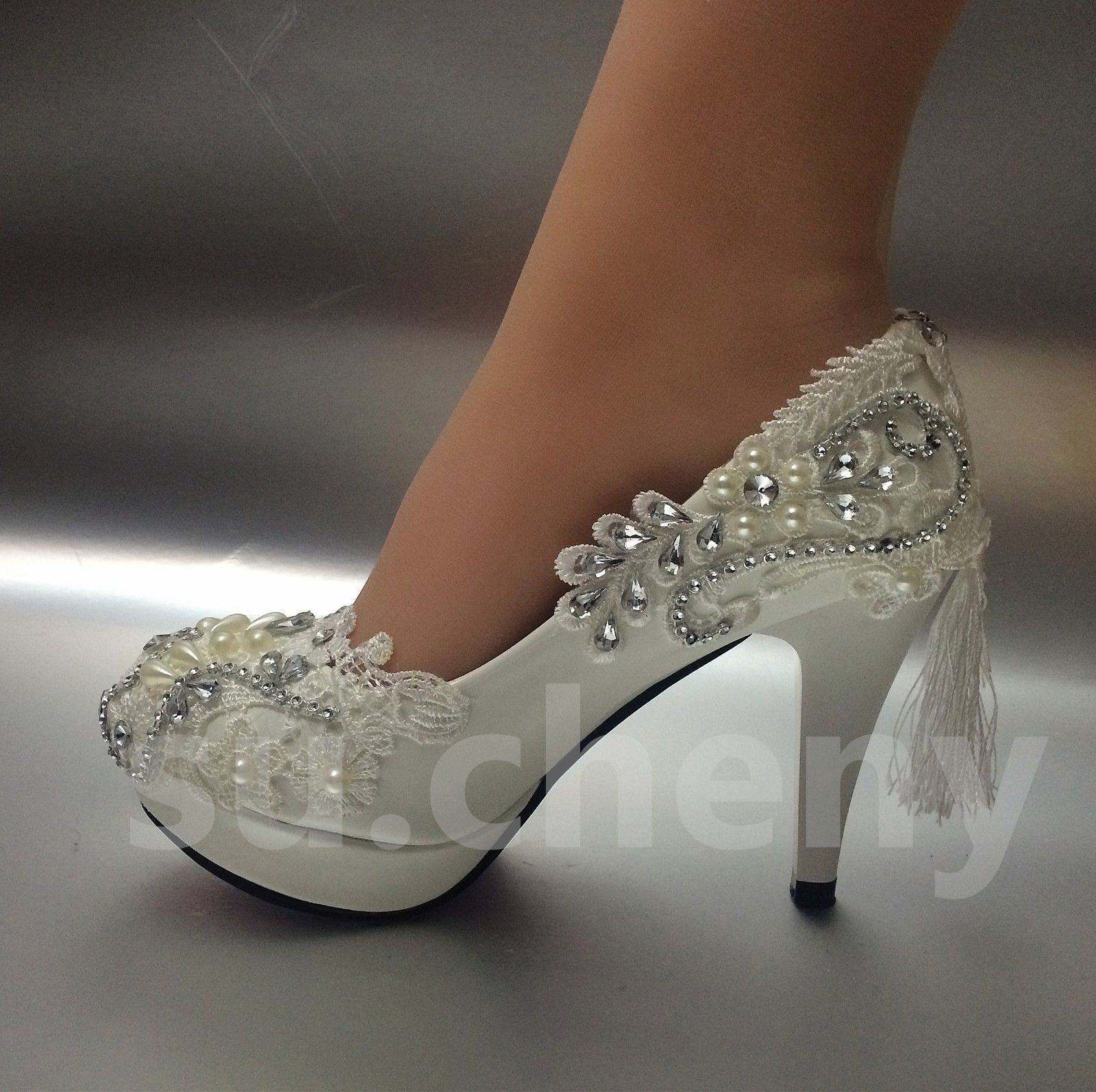 """3/""""//4/"""" white light ivory lace crystal Wedding shoes Bridal heels pumps size"""