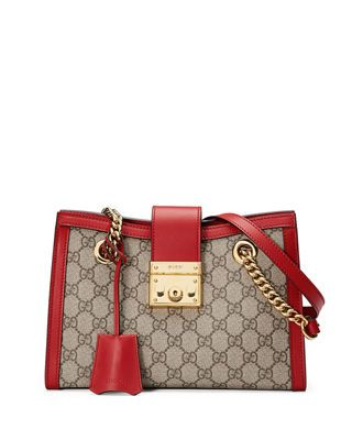 b29b46cdf5b Gucci Padlock Small GG Supreme Canvas Shoulder Bag