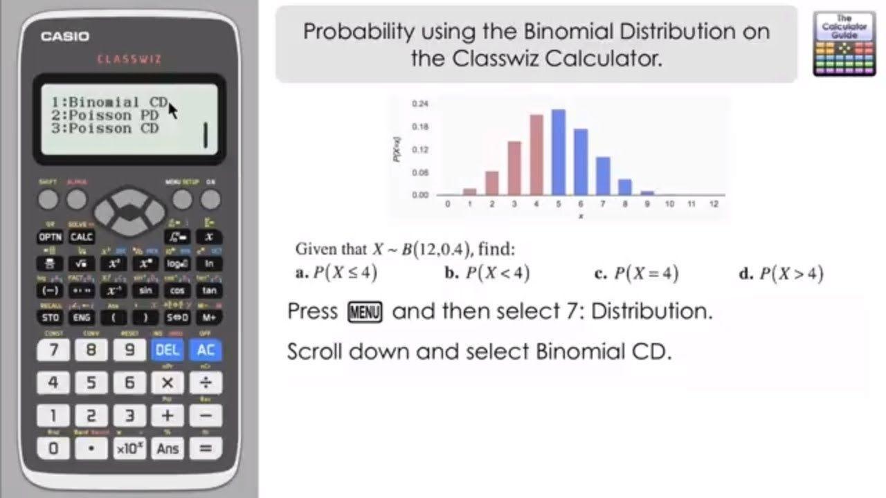 Probability using Binomial Distribution on a Casio Classwiz fx-991EX fx-...  | Calculator, Binomial distribution, Probability