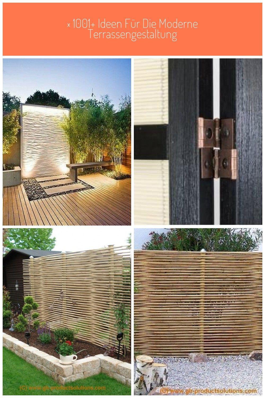 Bambus Holz Und Stein Ergeben Eine Schonen Sichtschutz Fur Den