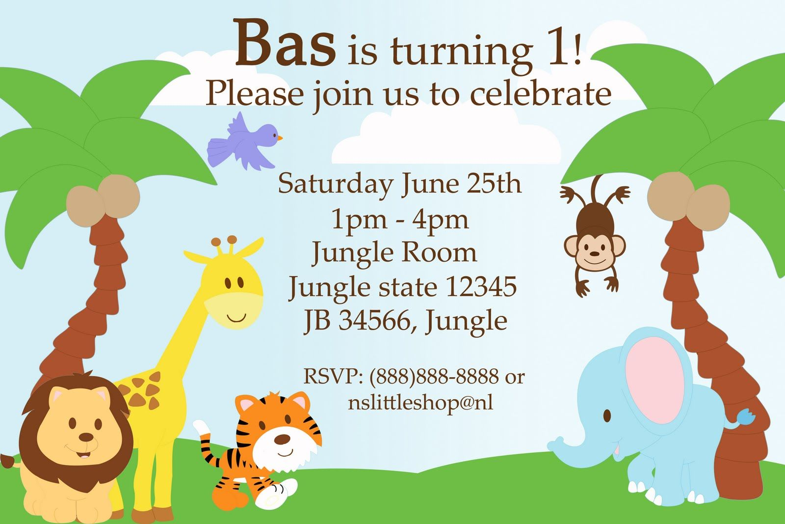 Safari Birthday Invitation Template  Jungle birthday invitations