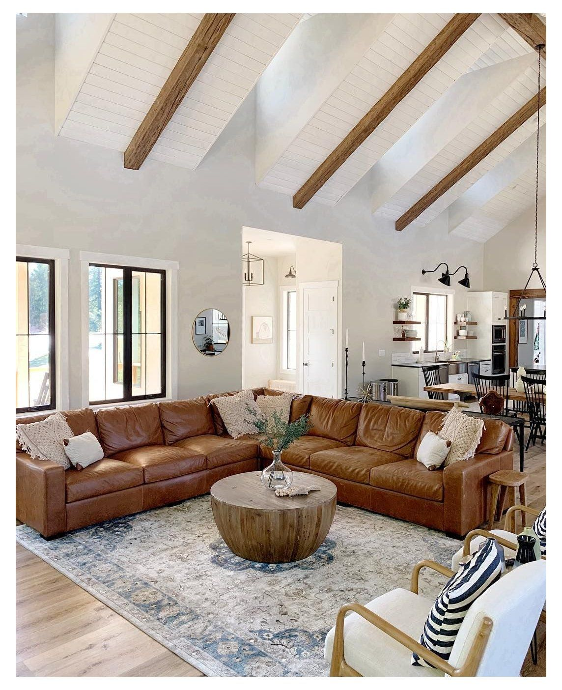 She Shed Decor Farmhouse Living Room, Cottage Style Living Room With Leather Couch