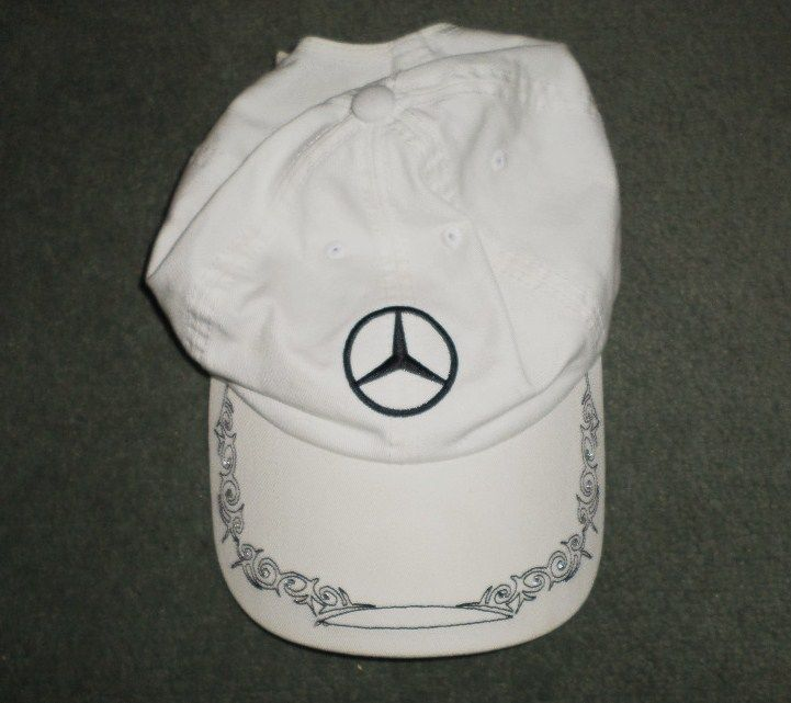 Westion Mercedes-Benz Logo Embroidered Adjustable Baseball Caps for Men and Women Hat Travel Cap Car Racing Motor Hat White
