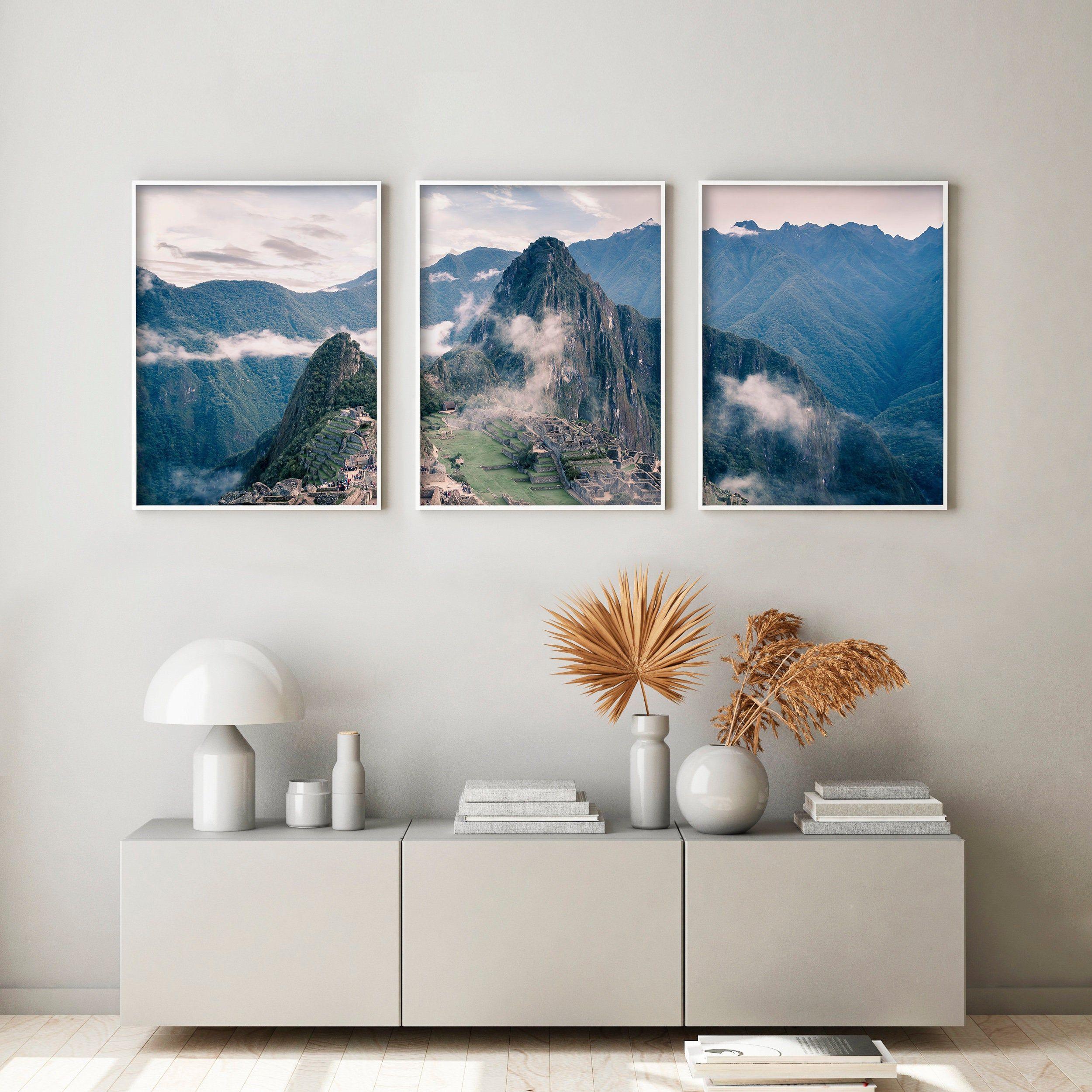 Machu Picchu Foggy Mountain Set Of 3 Landscape Huayna Picchu Etsy Photography Wall Art Poster Wall Art Photography Wall