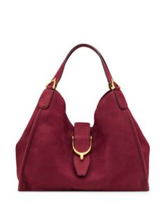 GUCCI Soft Stirrup Suede Medium Shoulder Bag