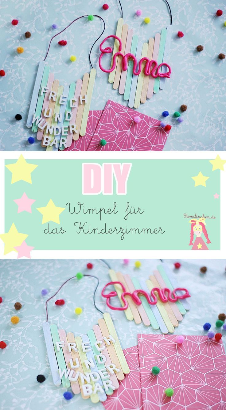 DIY Kinderzimmer Deko Wimpel aus Eisstielen basteln | Creative kids ...
