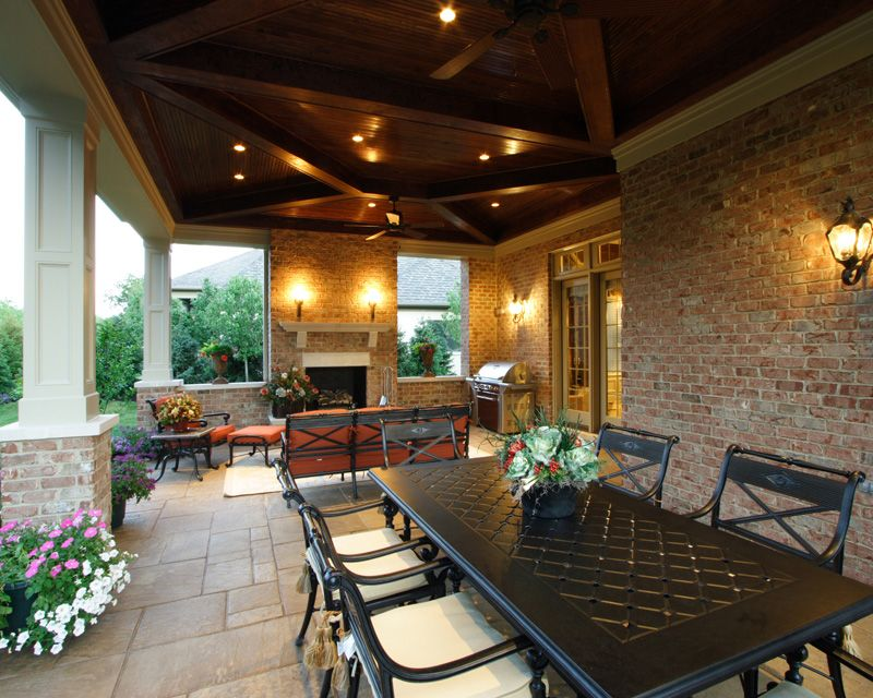 Amazing outdoor dining and relax by the fireplace - plan 065S-0033 ...