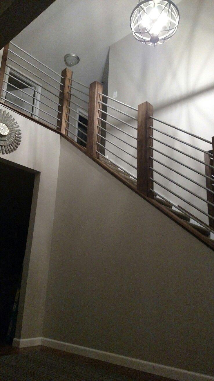 Best Rebar Railing Metal Bar Stairs Rustic Industrial Wood 400 x 300