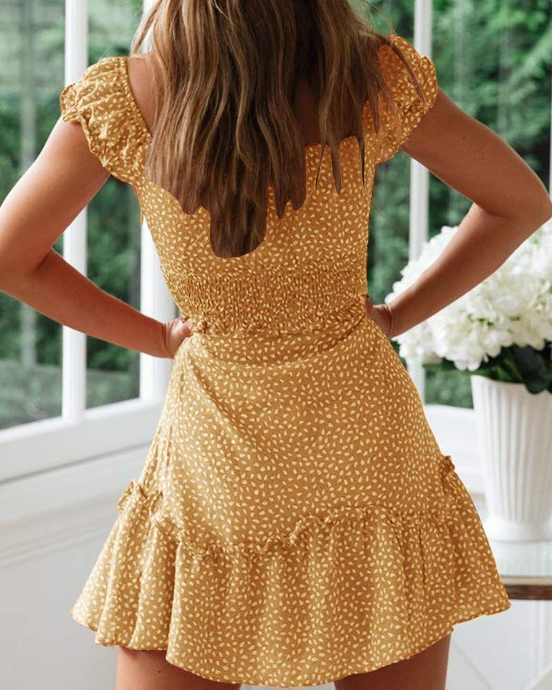 Womens Summer Ruffle Sleeve Sweetheart Neckline Printing Dress Mini Dress Ad Ruffle Affiliate Sleeve Mini Dress Fashion Summer Dresses For Women Dresses [ 1000 x 800 Pixel ]
