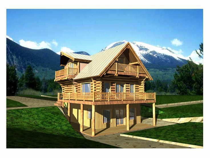 012l 0007 Two Story Log Home Plan With Finished Basement Ranch Style House Plans Log Cabin Floor Plans Log Cabin House Plans