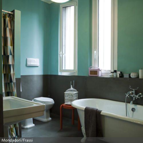 Zweiteilige Wandgestaltung aus verschiedenen Wandfarben ...