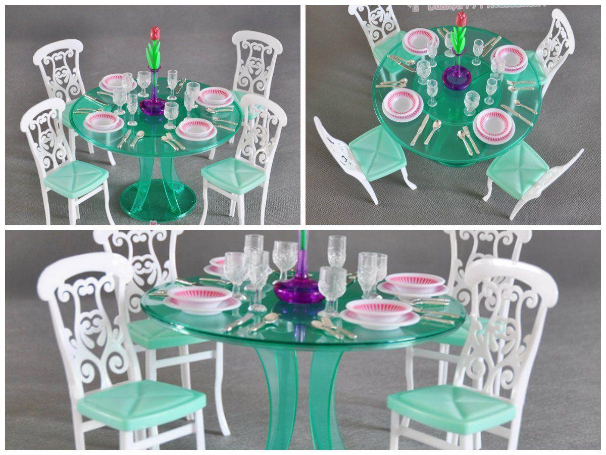 barbie size dollhouse furniture set. Gloria Barbie Size Dollhouse Furniture Dining Room, Green Set