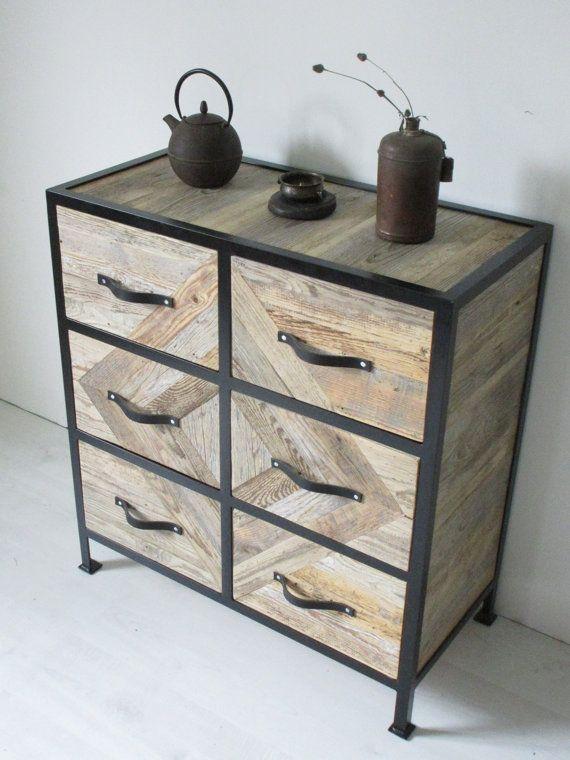 Wooden Dresser, Chest of Drawers, Wood Mosaic Wardrobe, Cottage Chic ...