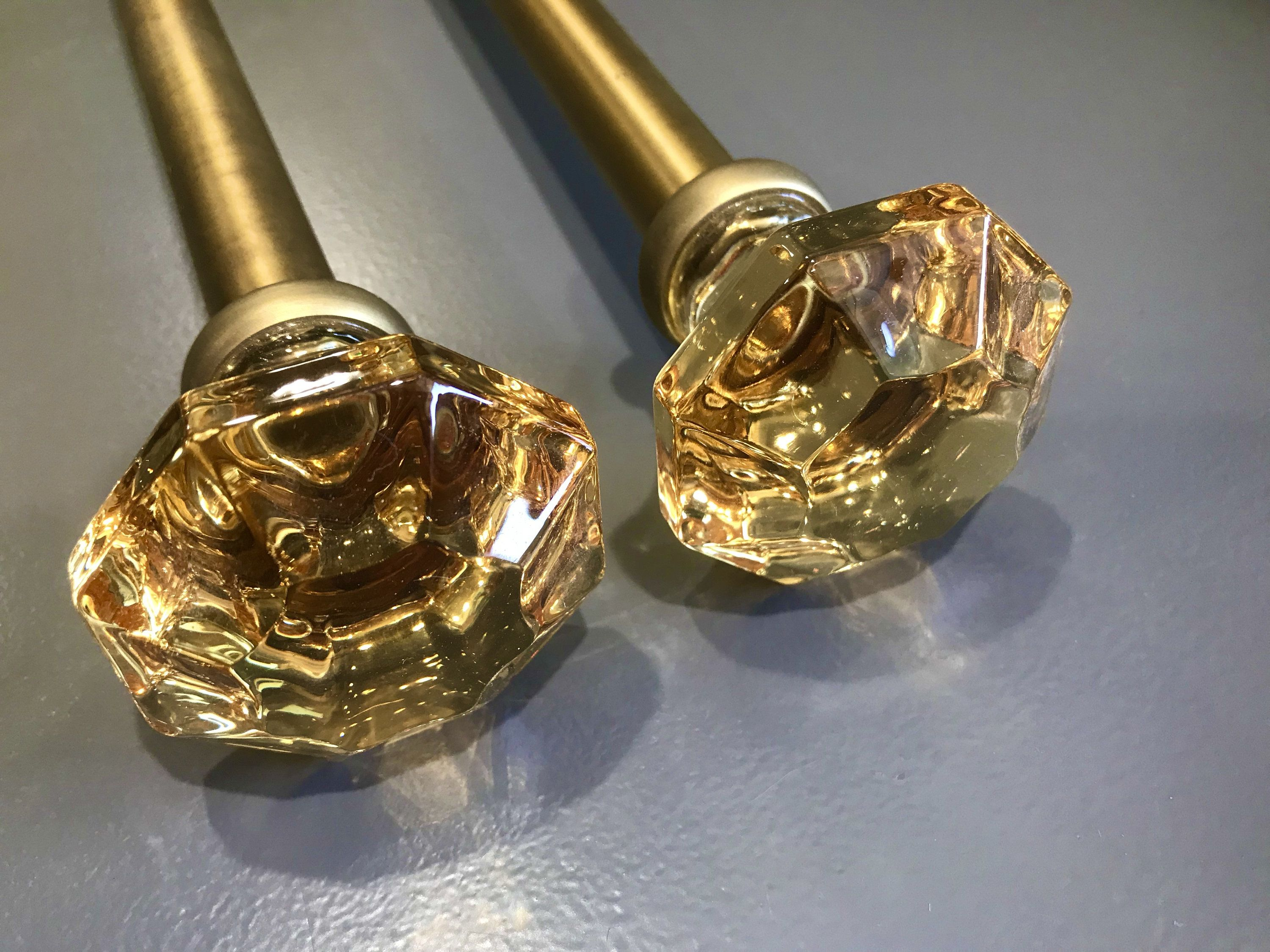 Vintage Curtain Rods With Amber Glass Diamond Shape Ends Vintage
