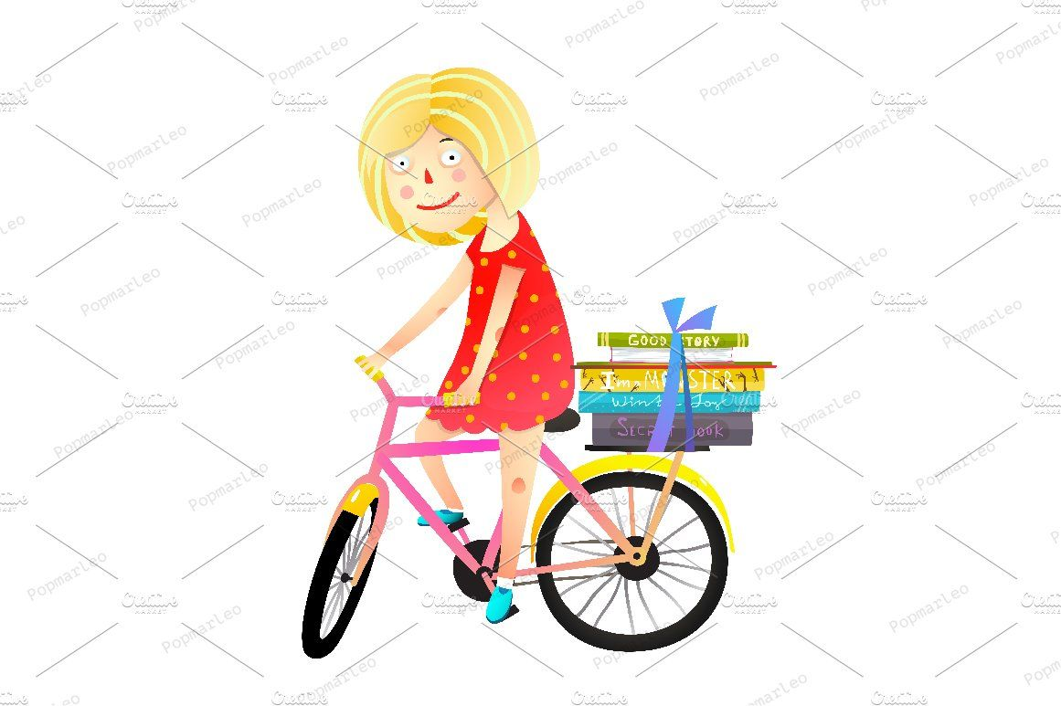 Little Girl Books And Bicycle