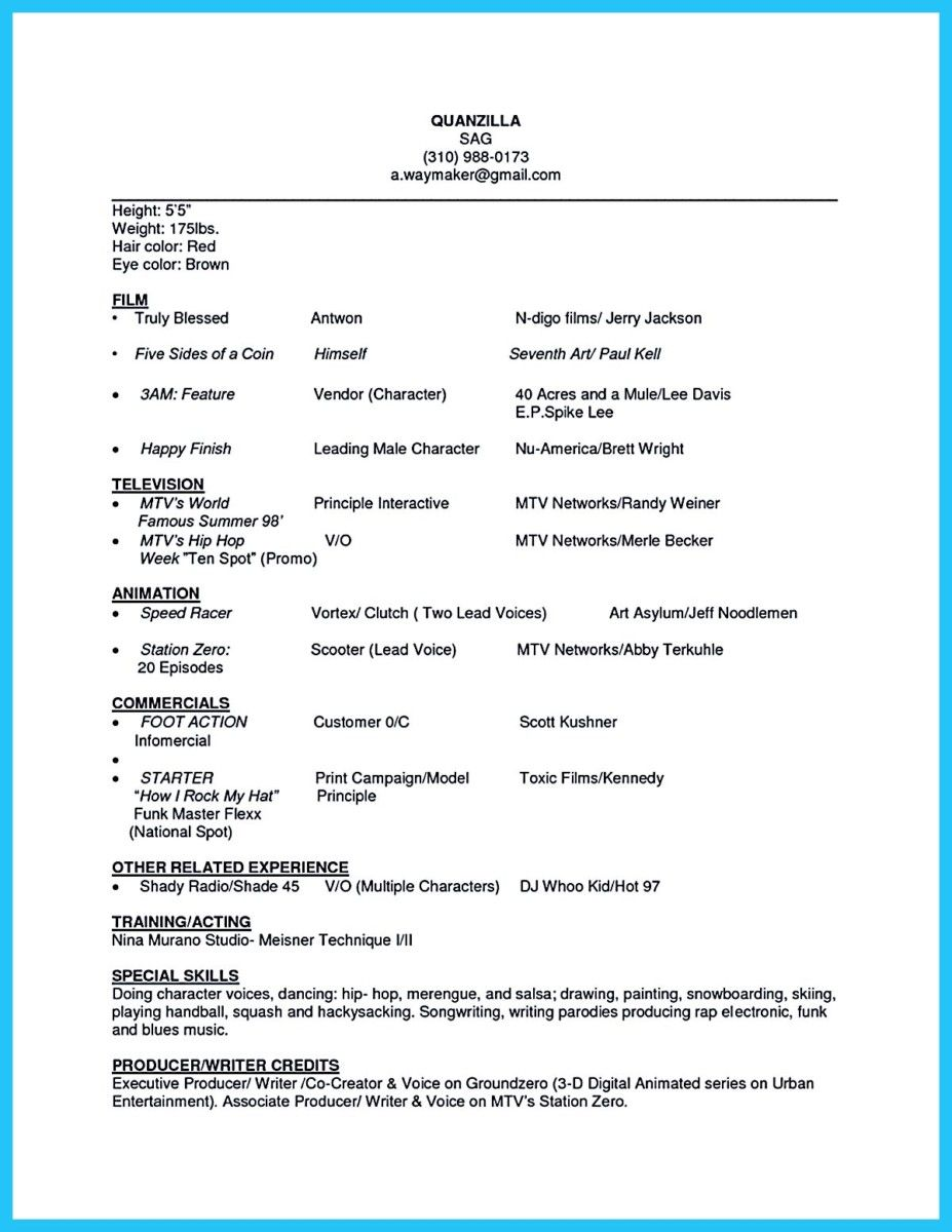Awesome Amazing Actor Resume Samples To Achieve Your Dream Check