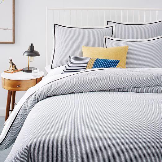 modern master bedroom with threshold seersucker duvet cover set | Seersucker Pinstripe Duvet Cover + Shams | west elm ...