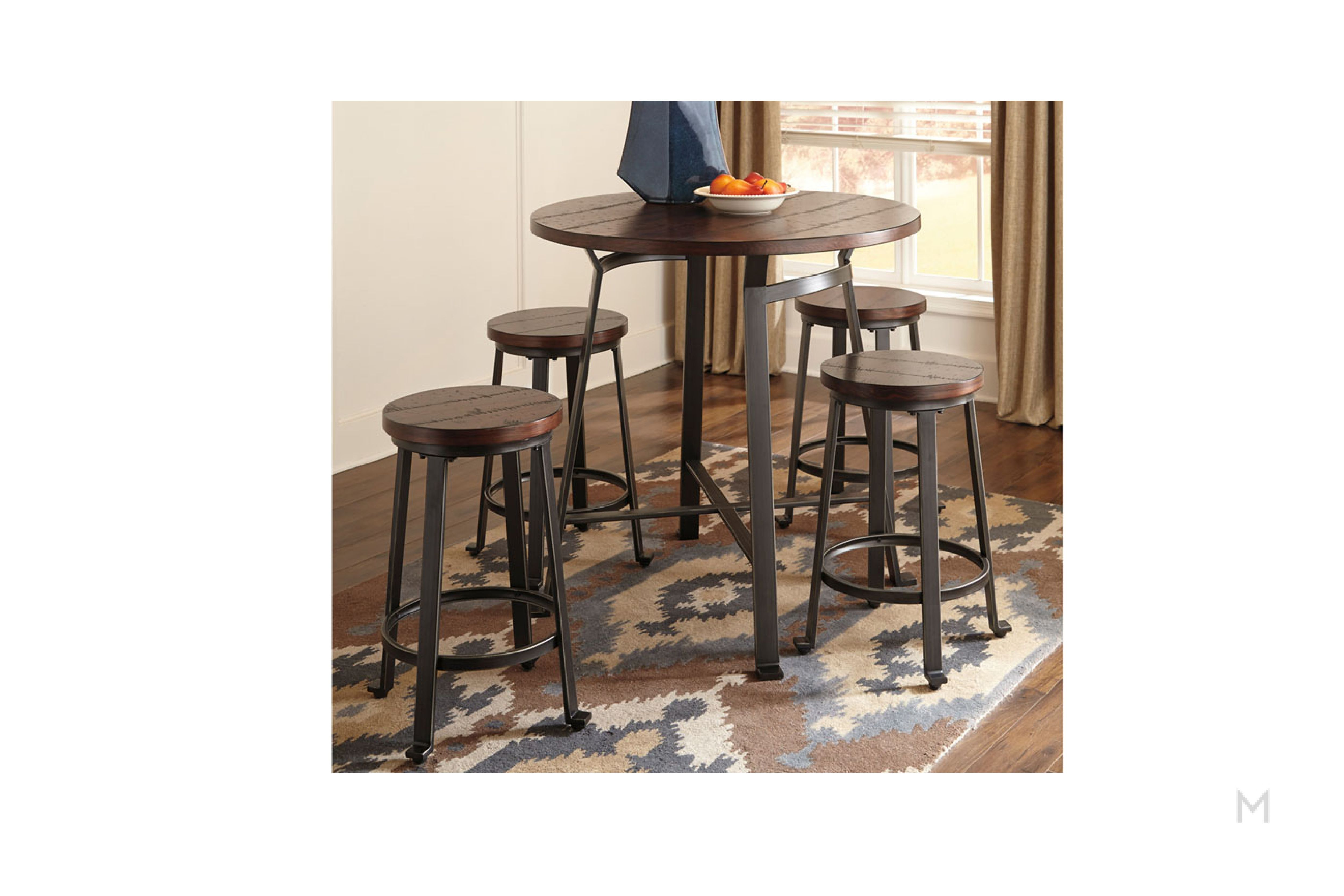 Challiman Counter Height Bar Stool Round Pub Table Dining Room