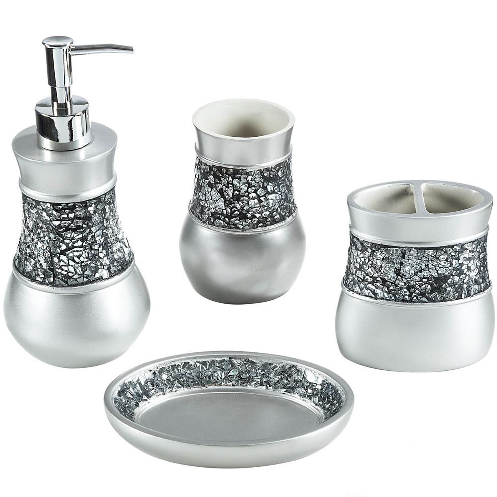 Silver Sparkle Mirror Glass Crackle Bathroom Dispenser Tumbler ...