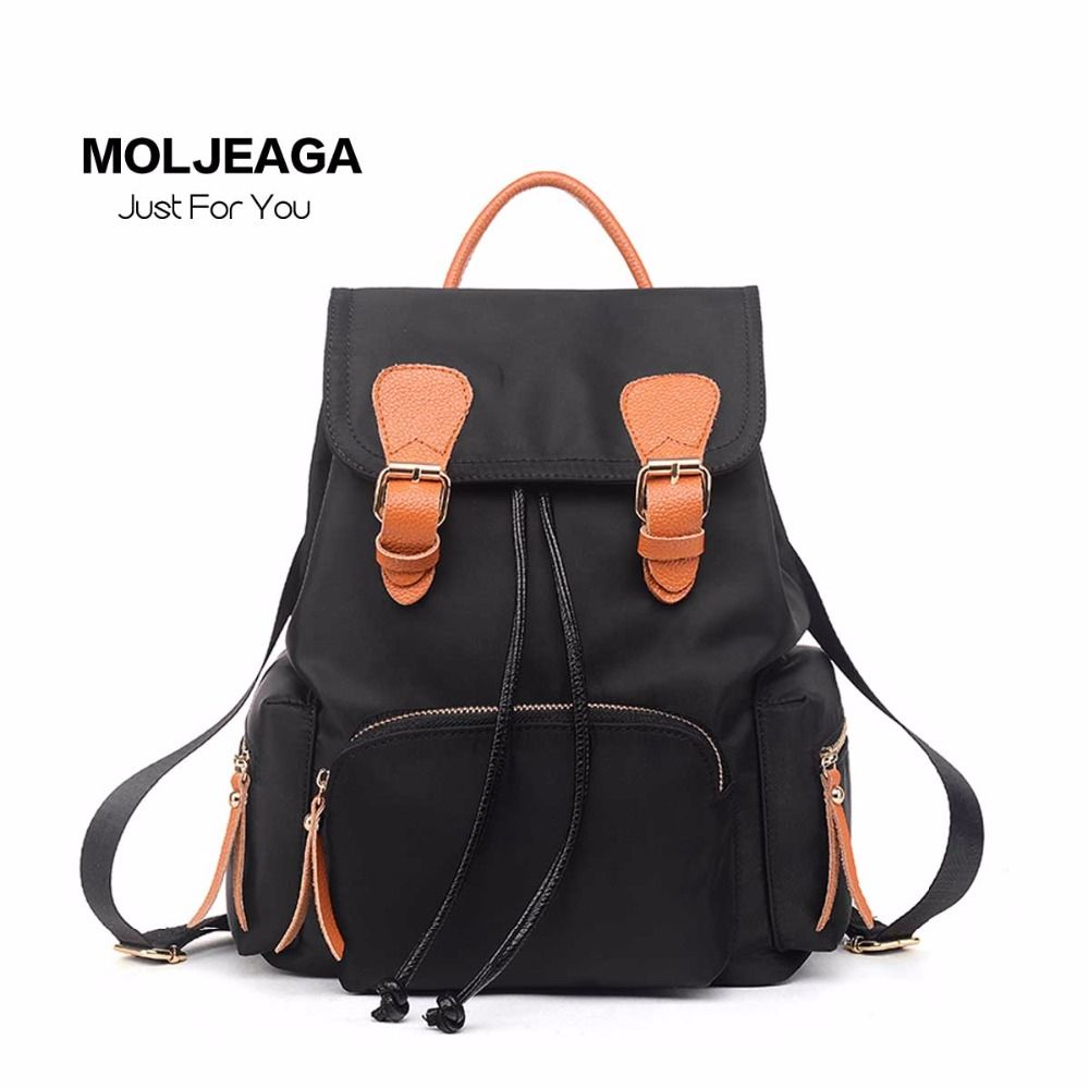 MOLJEAGA Nylon Leather Panelled bags fashion female shoulder bag leisure  travel backpack trend waterproof drawstring Backpacks 09b09f6587
