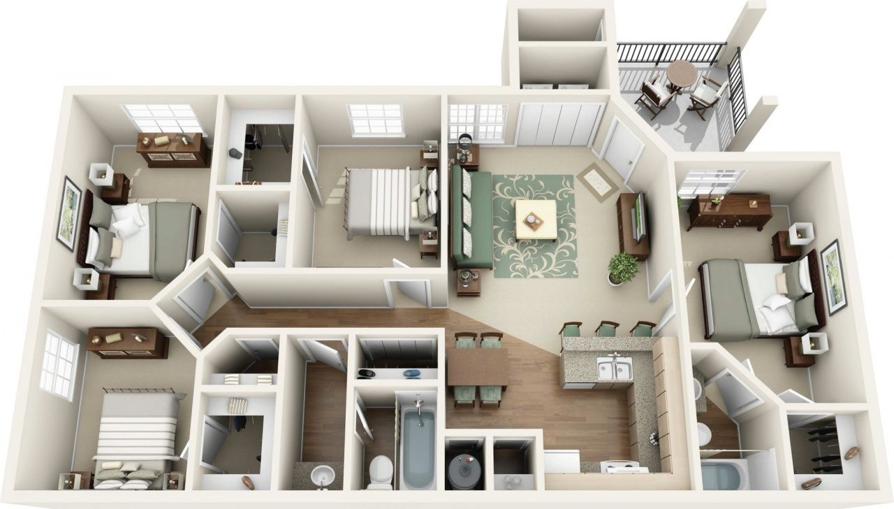 4 Bedroom Apartments For Rent In 2020 Apartment Layout Apartment Floor Plans Renting A House