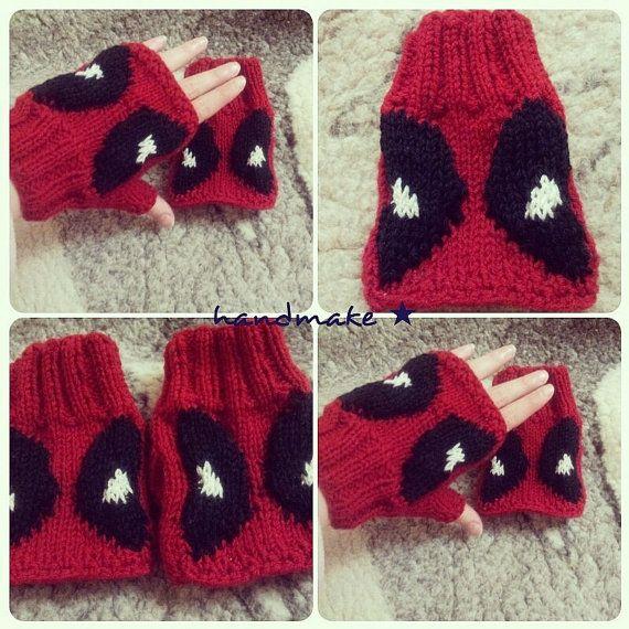 Knitted Mittens Mittens Deadpool Fingerless Gloves Marvel