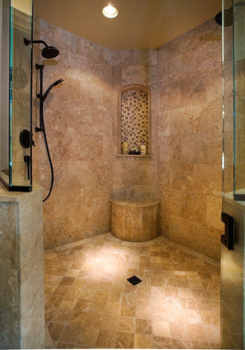 Tile shower with two shower heads and niche - Interior design by ...
