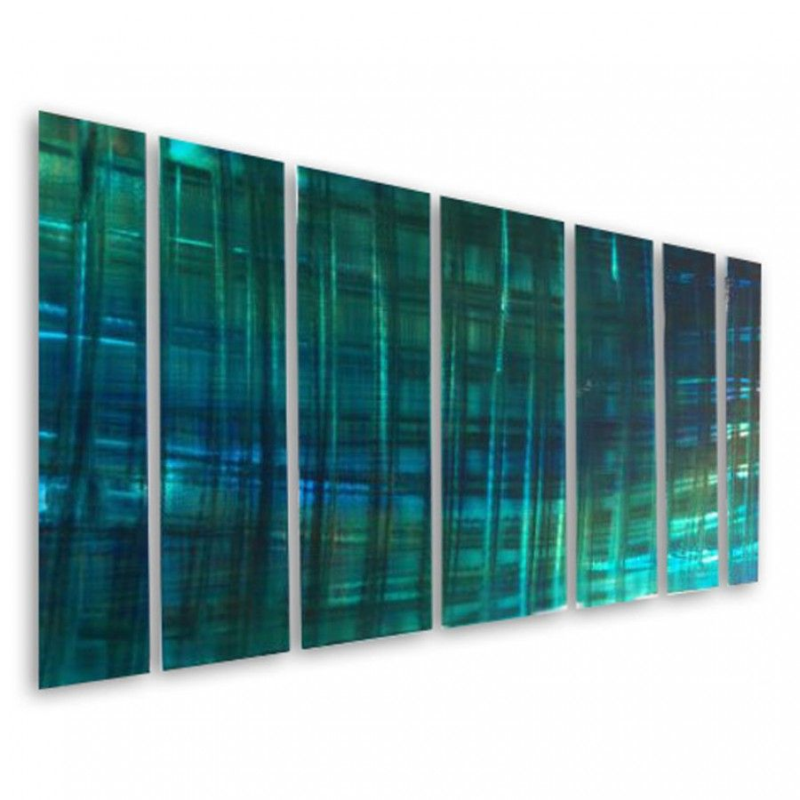 All my walls abstract by ash carl metal wall art in blue and turquoise 23 5