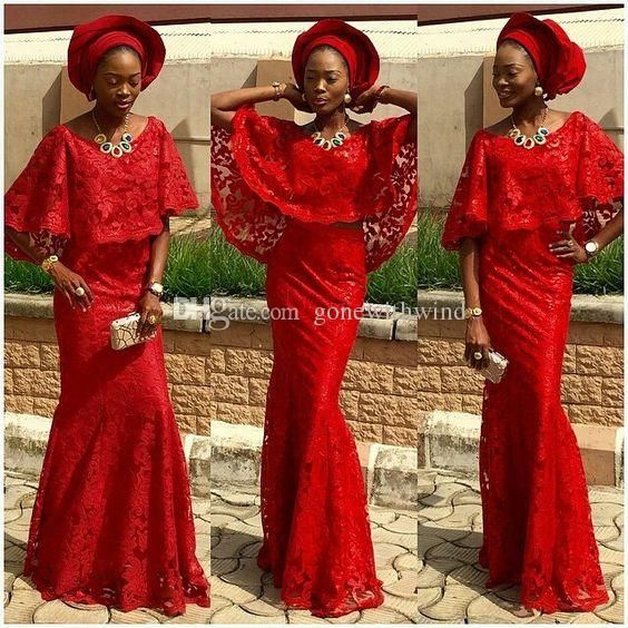 2016 Fashion African Dresses For Evening Cape Sleeves Red Lace Bridal Outfits Aso Ebi Gown Style Fish Tail Party Dress