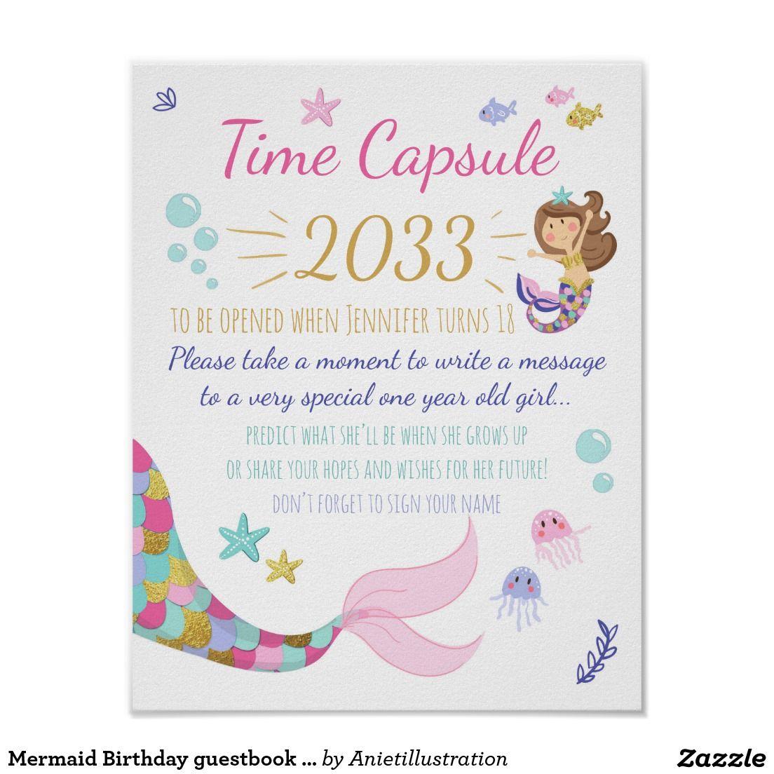 Mermaid Birthday guestbook Time Capsule sign Girl | Mermaid birthday ...
