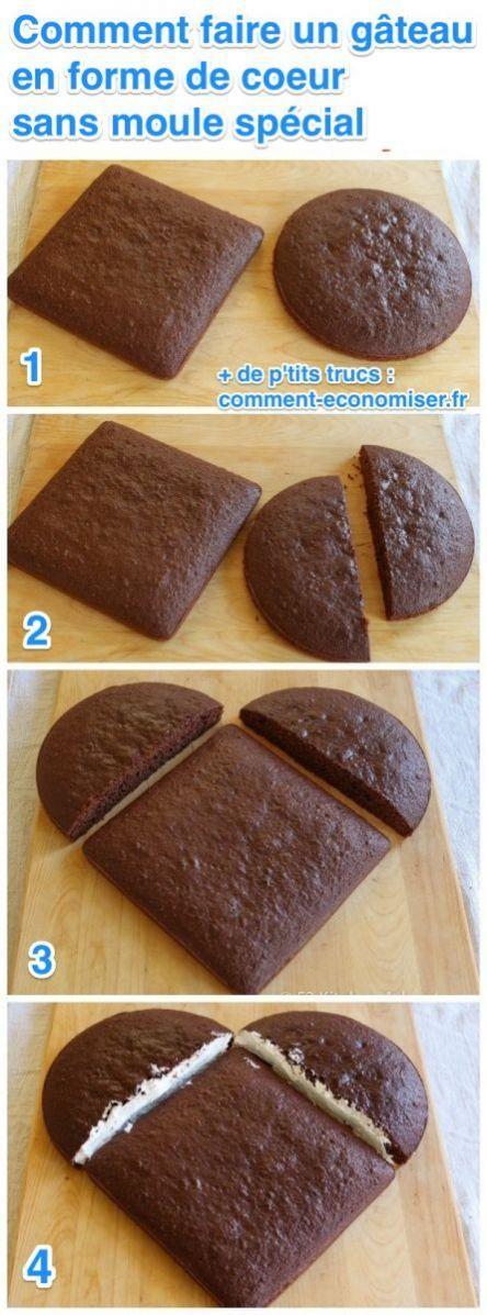 voici comment faire un g teau en forme de coeur sans moule sp cial recette pinterest. Black Bedroom Furniture Sets. Home Design Ideas