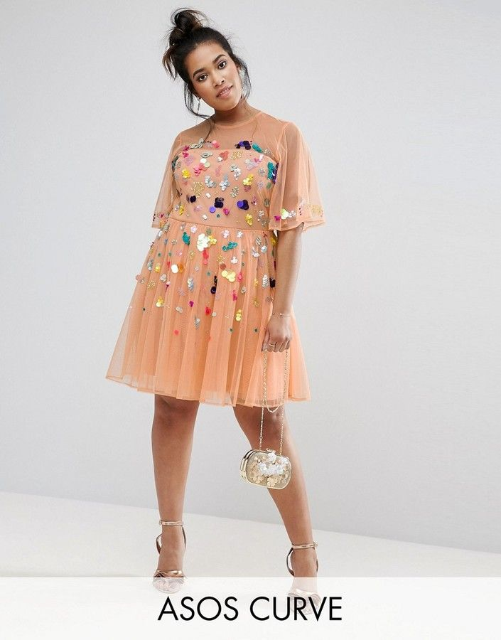 ASOS Curve ASOS CURVE Mesh Scatter Sequin Mini Dress