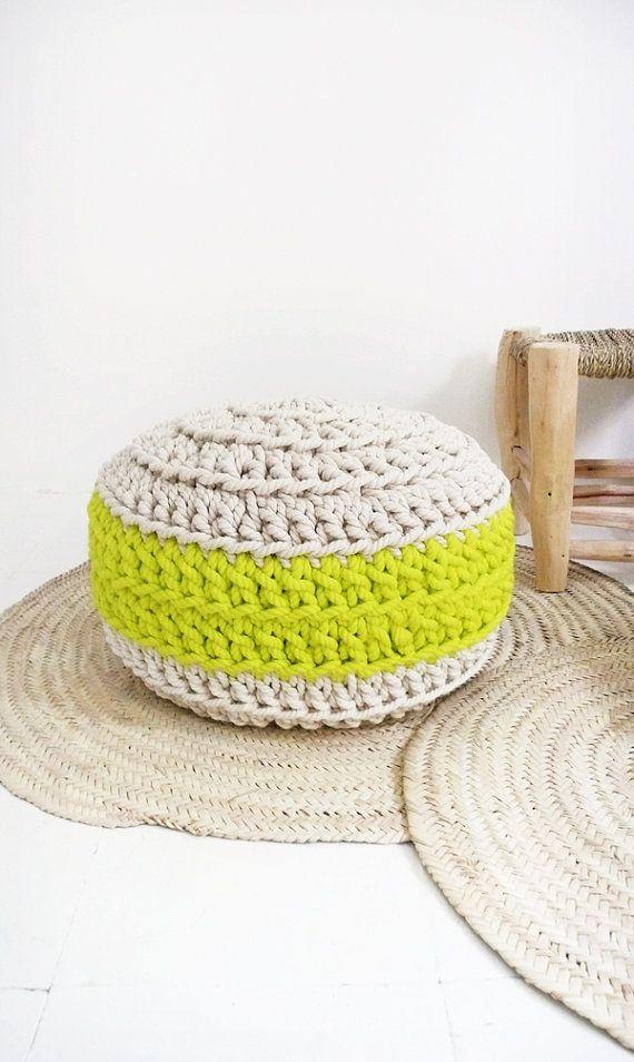 Floor Cushion Crochet - Thick Cotton - Ecru and neon yellow ...