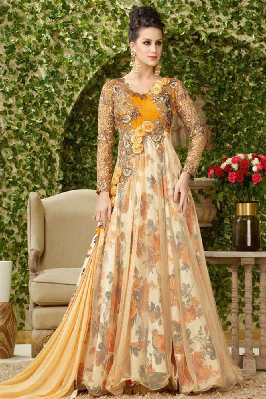 7c54a59d84 Heavy Embroidered and Flower Work Floor Length Gown Style Party Wear Long Anarkali  Suit in Net Fabric With Silk Printed Inner