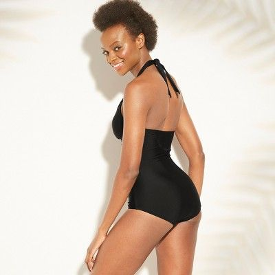 547f3feff48 Women's Shirred Scallop Mesh One Piece Swimsuit - Kona Sol Black XS, Black  Tie