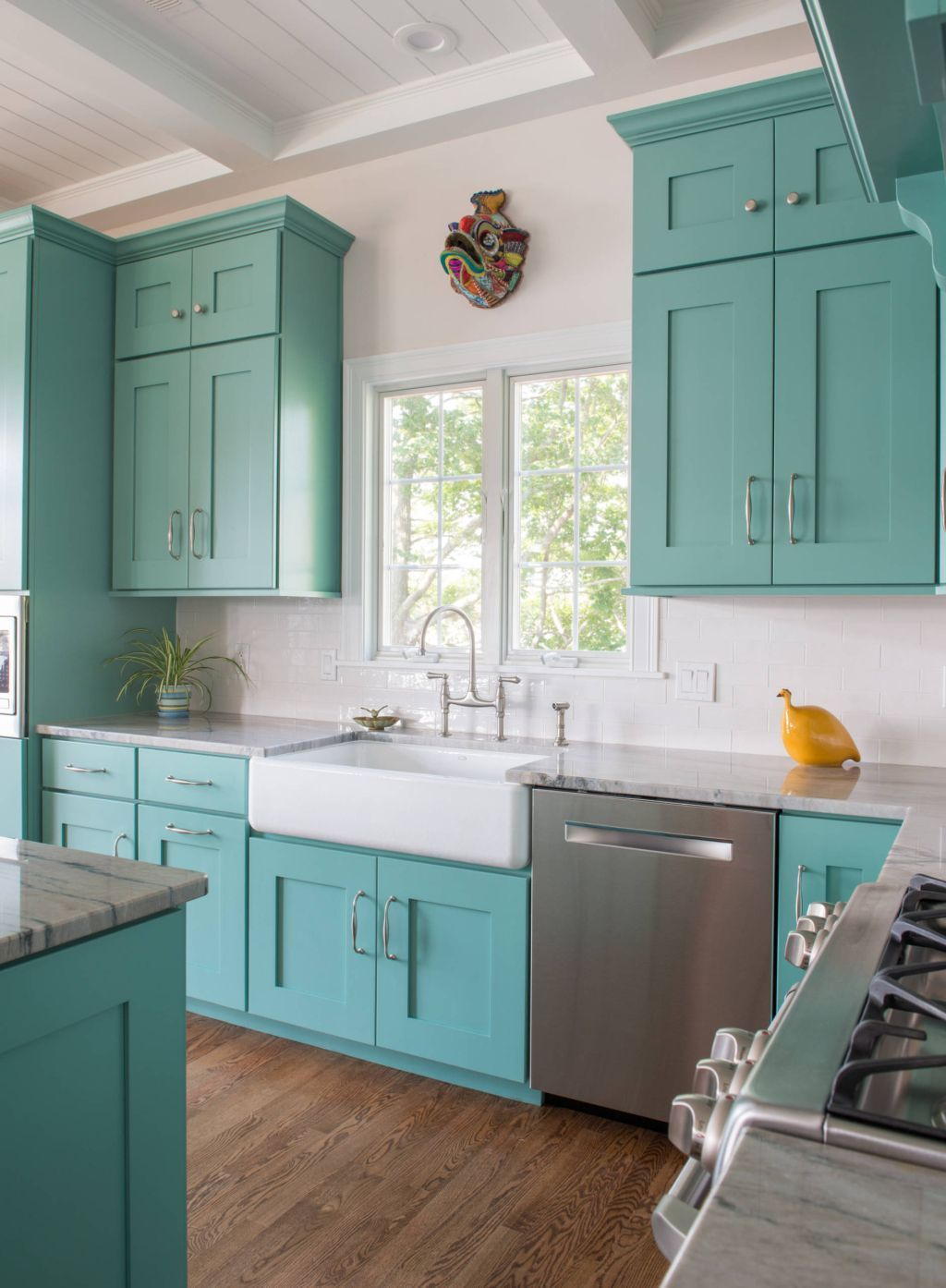 Turquoise Kitchen Cabinets With White Farmhouse Sink Sherwin Williams Co Turquoise Kitchen Cabinets Farmhouse Style Kitchen Cabinets Kitchen Cabinet Styles