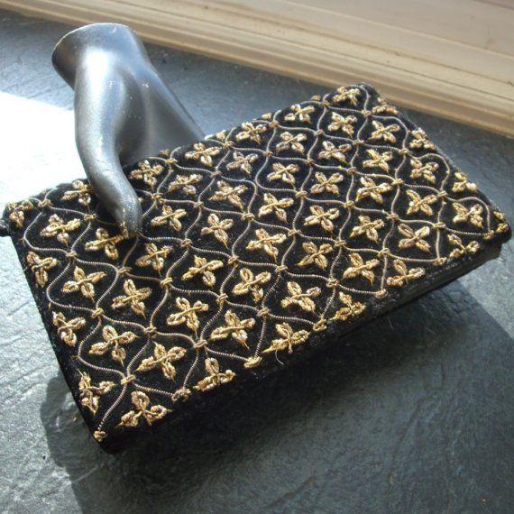 Black Velvet Clutch Bag Gold Metal Embroidery