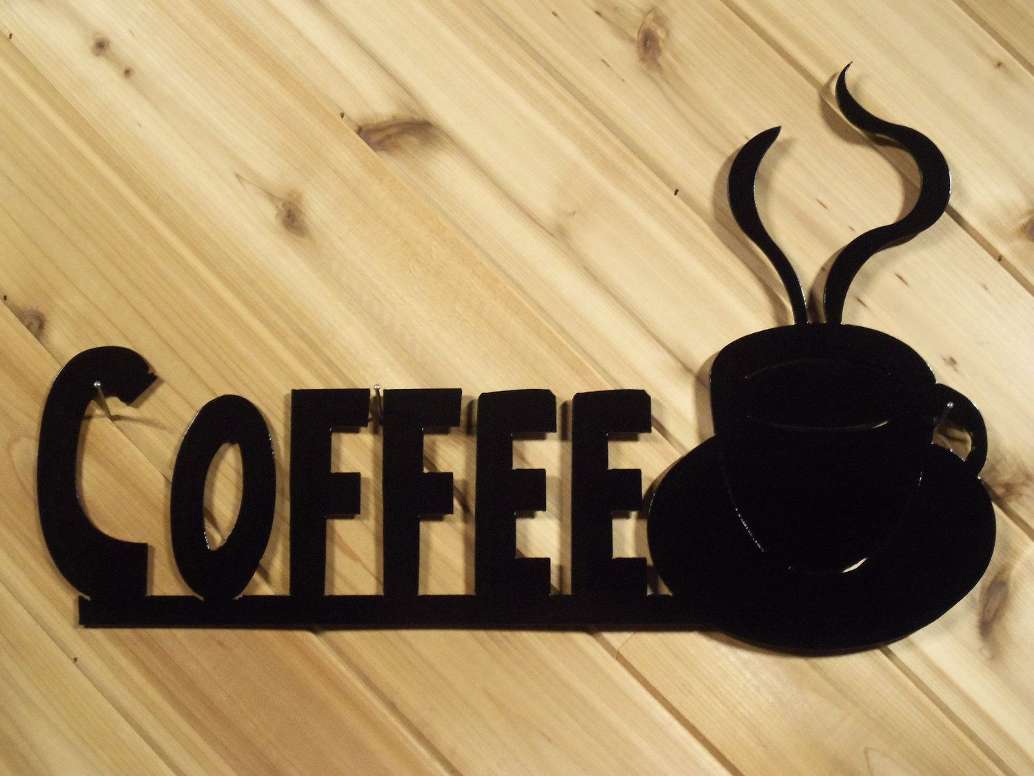 Coffee with Cup - Black - Metal Wall Words - Metal Wall Art By ...