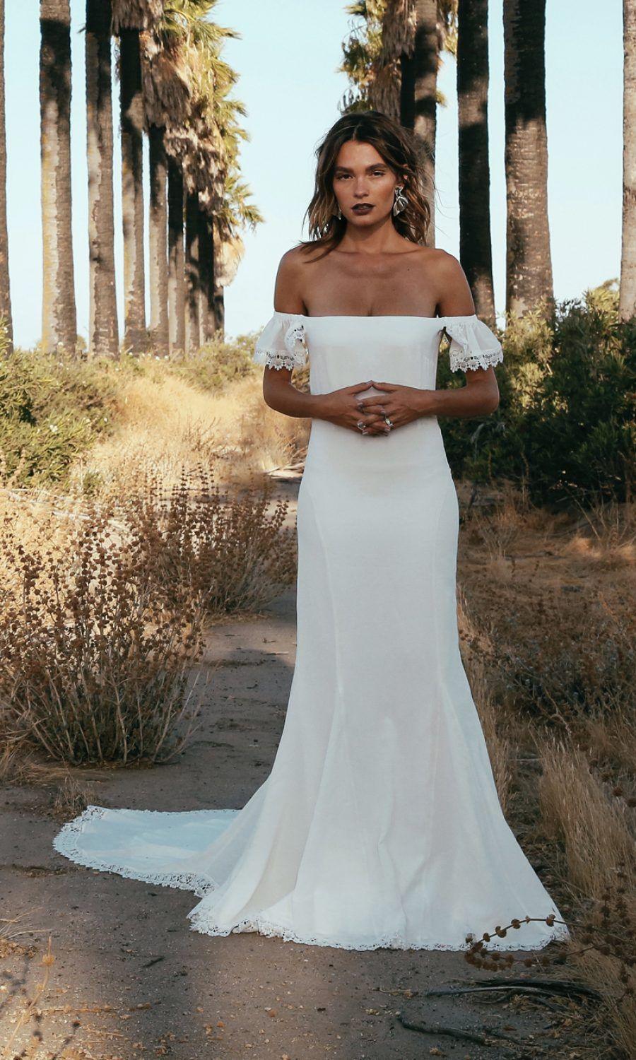off-shoulder wedding dress by Daughters of Simone | Bride ...