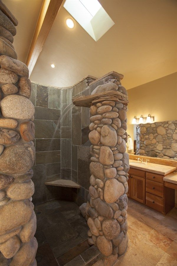 Rock waterfall shower google search showers for Cool shower door ideas