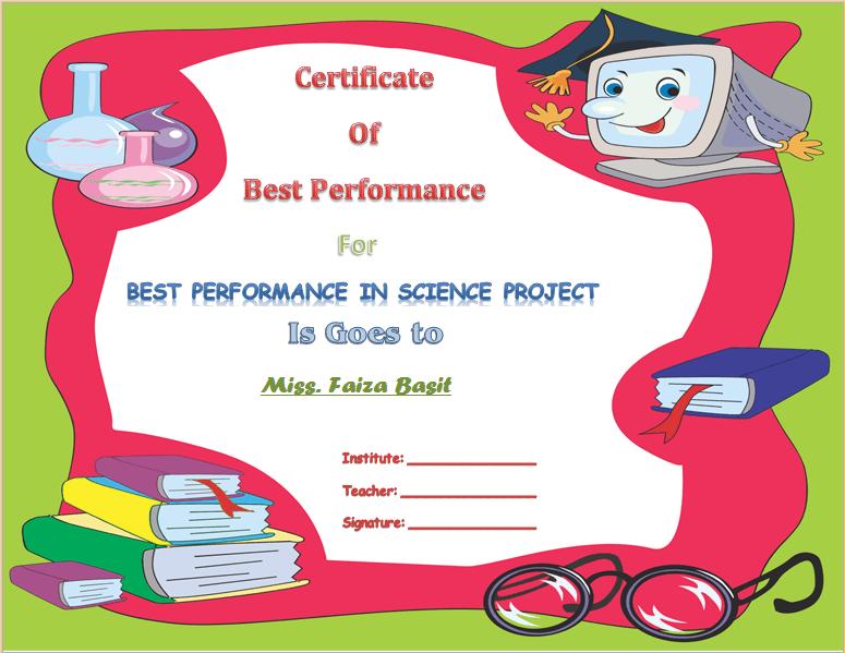 Best science student award certificate template award best science student award certificate template yadclub Gallery