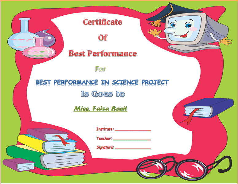 Best Science Student Award Certificate Template Award Certificate
