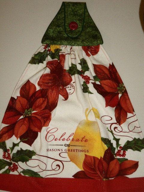 Christmas Celebrate Seasons Greetings Poinsettas by CraftyWanda, $10.50