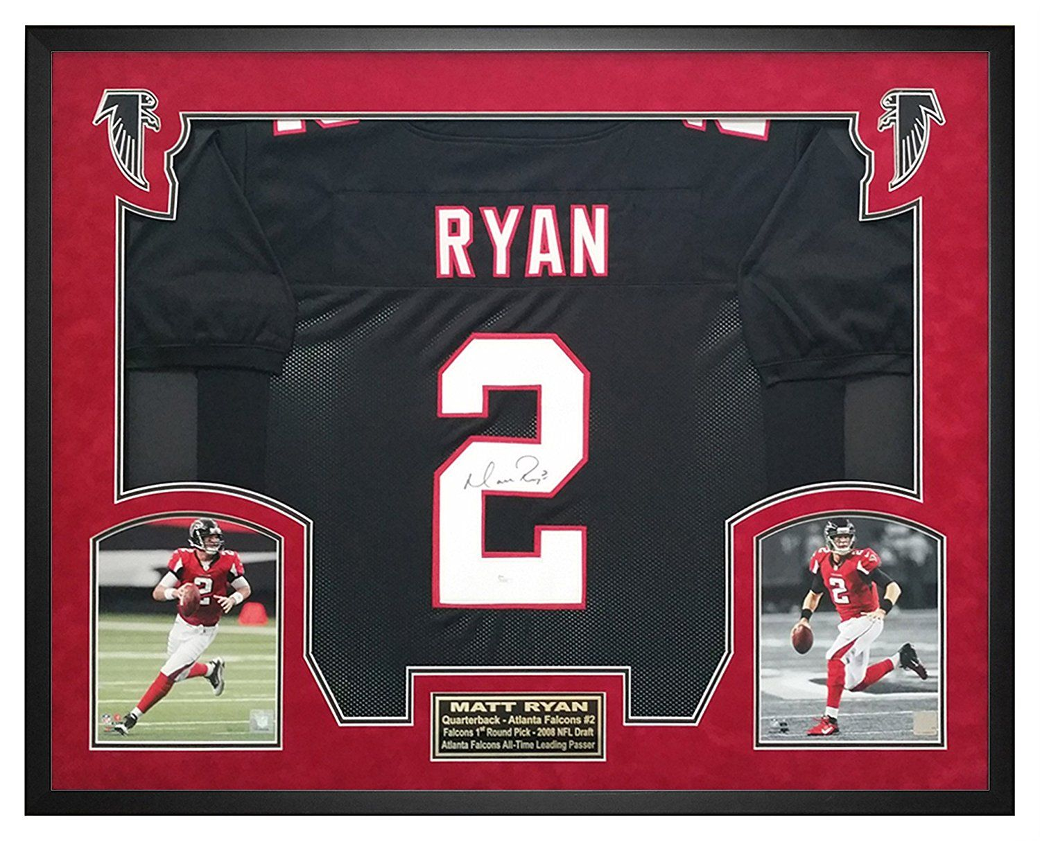 Matt Ryan Atlanta Falcons Autographed Jersey Custom Framed Shadow Box Jsa Certificate Of Authenticity Great For Any Atlanta Falcons Shadow Box Framed Jersey