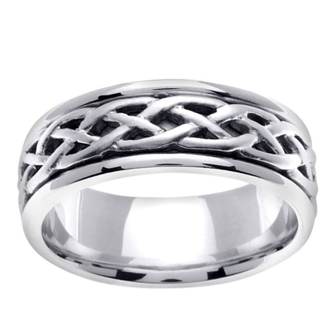 this striking white gold mens wedding band is constructed of luxurious 14 karat white mens celtic wedding bandsceltic - Celtic Mens Wedding Rings