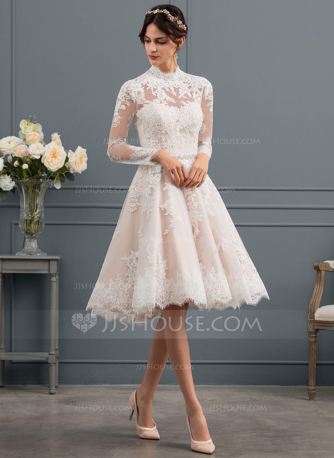 Us 233 00 A Line Illusion Knee Length Lace Wedding Dress Jj S House Tea Length Wedding Dresses Lace Short Wedding Dress Wedding Dresses Lace [ 1562 x 1140 Pixel ]