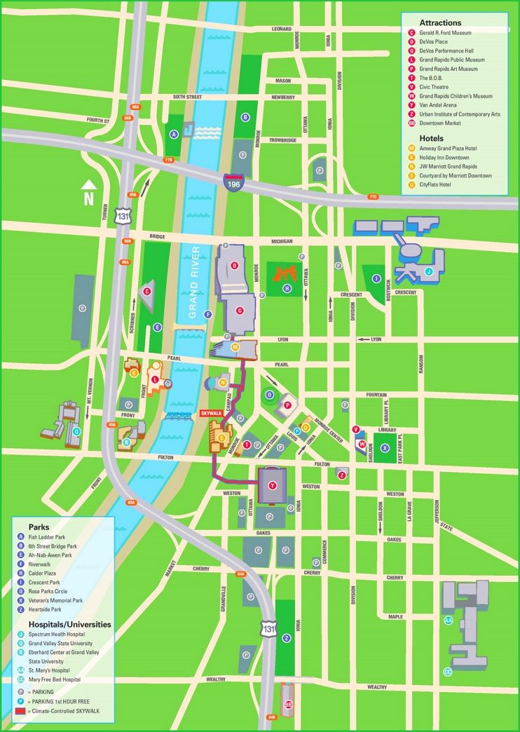 Grand Rapids hotels and sightseeings map Maps Pinterest Usa cities