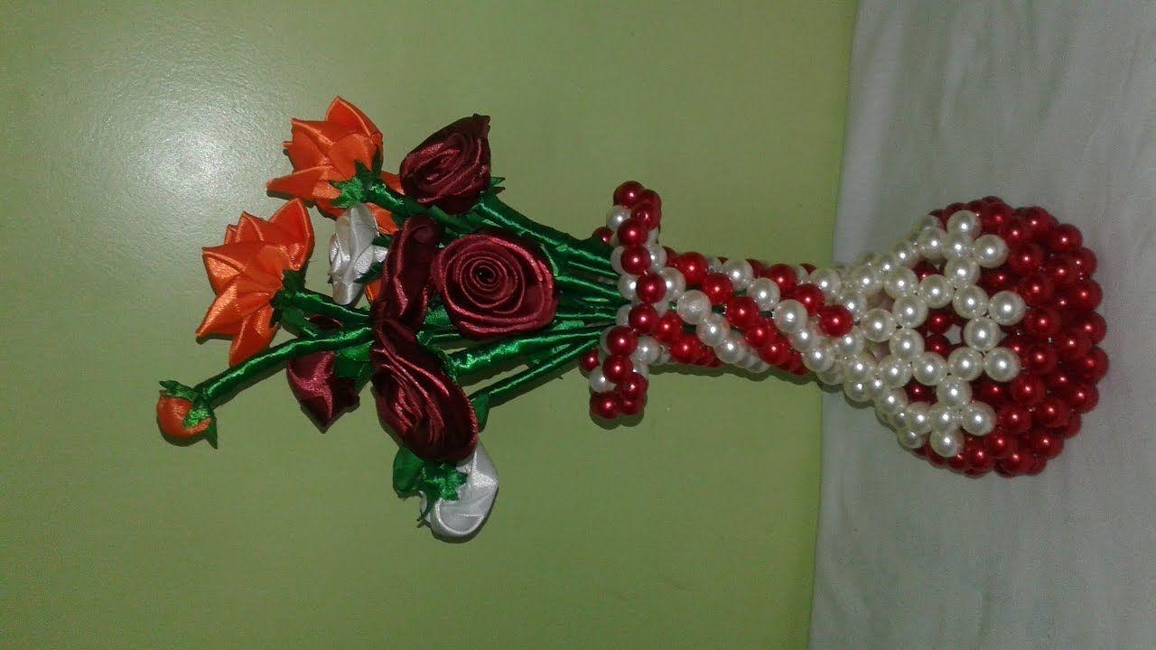 Pinterest & how to make beaded flower vase/পুতির ফুলদানী ...