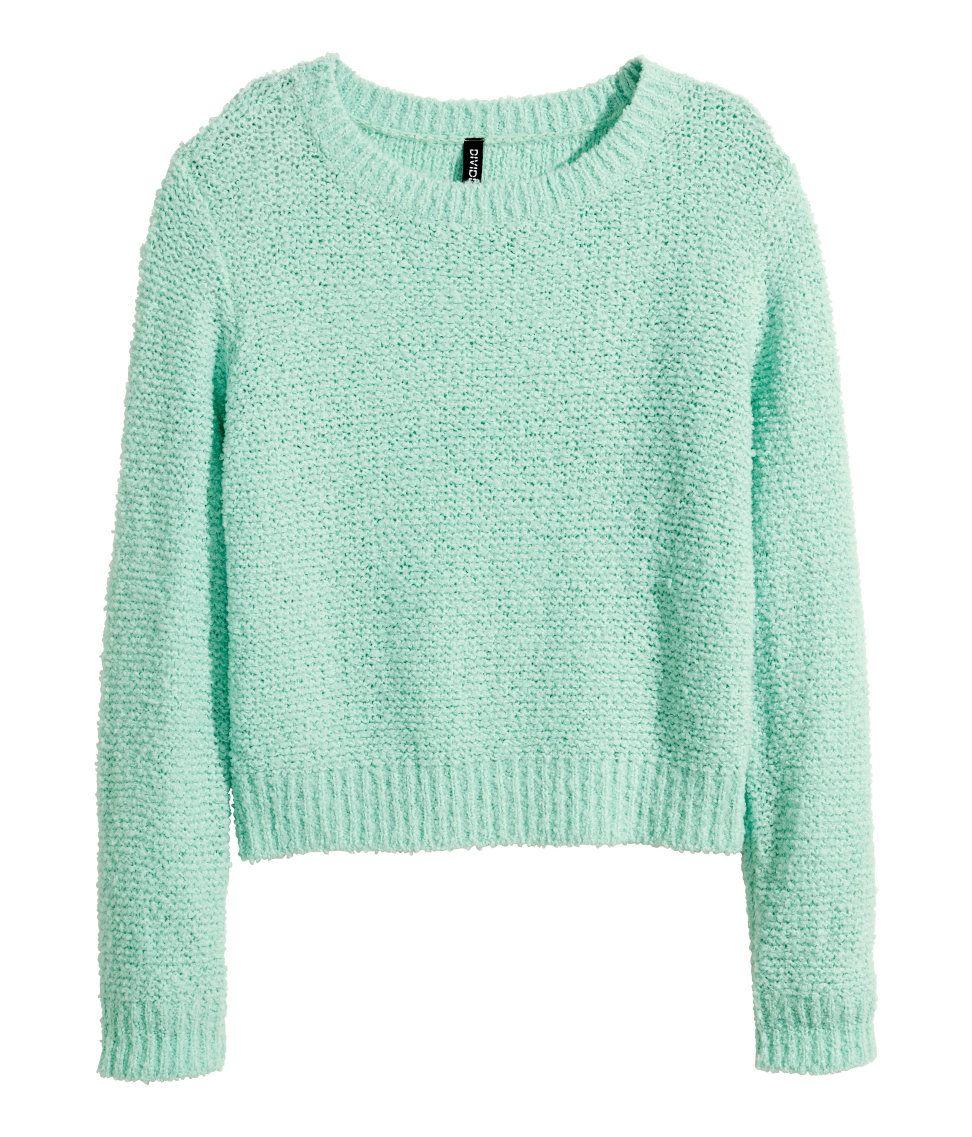 d328d1357d9b23 Mint long-sleeved, loose-knit sweater in bouclé yarn.   H&M Pastels ...